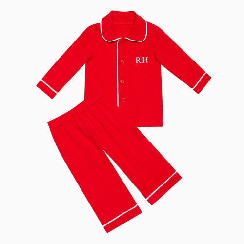 Boys - Kids Red Personalised Pyjamas