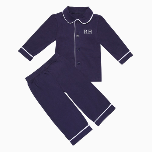 Boys - Kids Navy Personalised Pyjamas