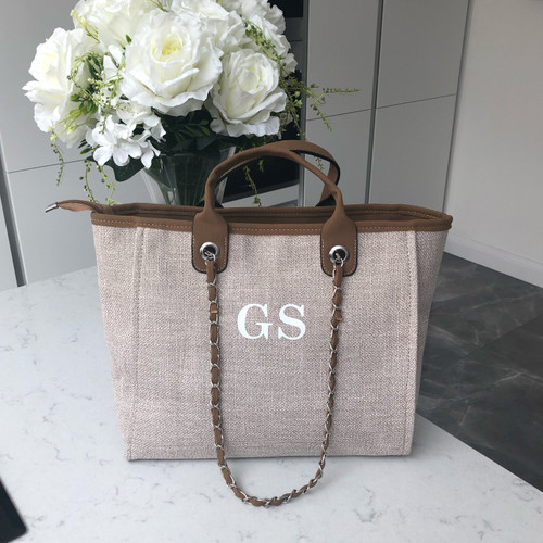 Brown Canvas Personalised Bag