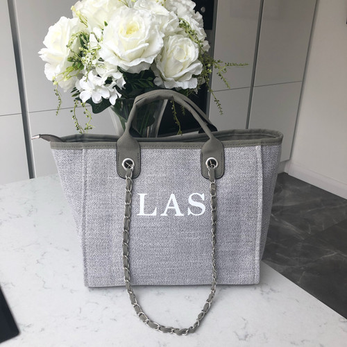 Grey Canvas Personalised Bag
