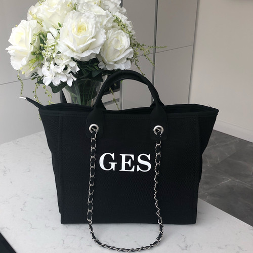 Black Canvas Personalised Bag