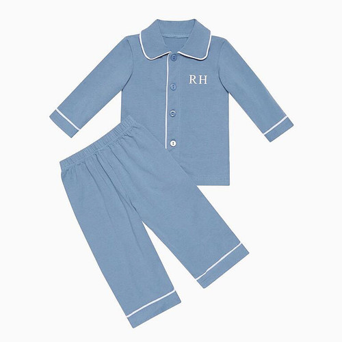 Boys - Kids Blue Personalised Pyjamas