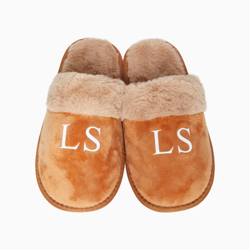 Tan Faux Fur Personalised Slippers