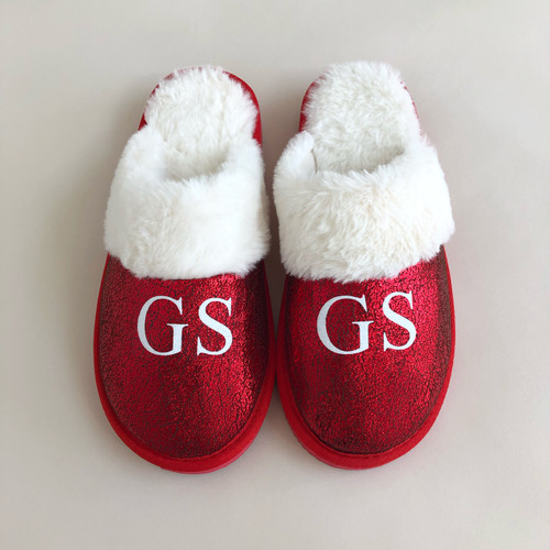 Red Faux Fur Personalised Slippers