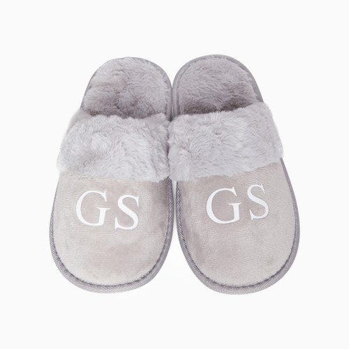 Light Grey Faux Fur Personalised Slippers