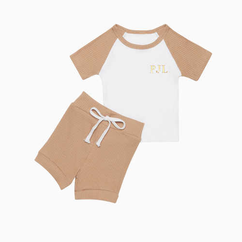 Kids Personalised Two Tone Brown Co Ord Set