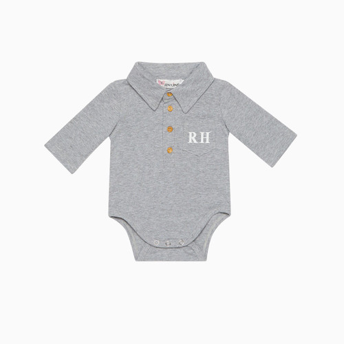 Grey Personalised Baby Collar Romper