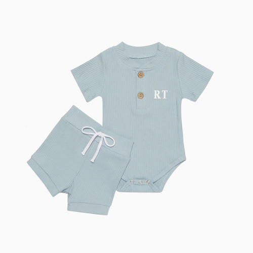 Blue Personalised Baby Romper & Short Set