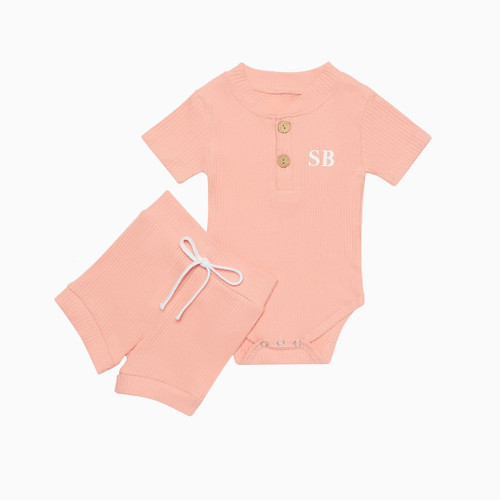 Pink Personalised Baby Romper & Short Set