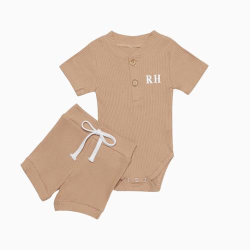 Brown Personalised Baby Romper & Short Set