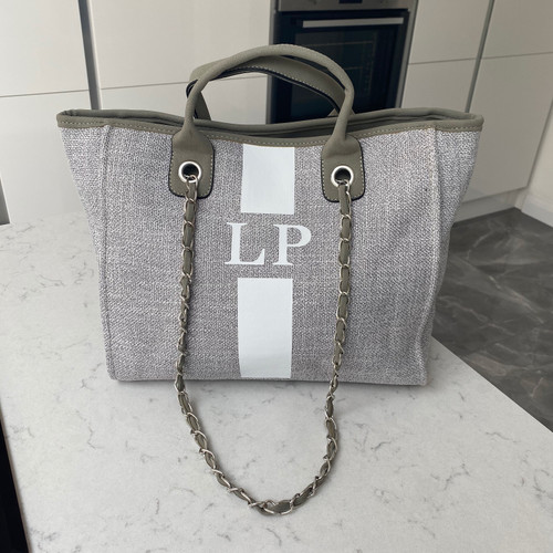 Grey Canvas Personalised Bag with White Stripe