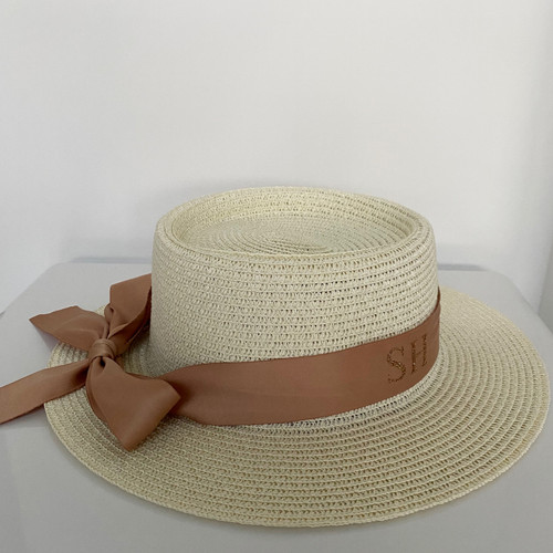 Cream Bow Personalised Beach Hat with Brown Ribbon