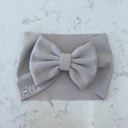 Grey Baby Personalised Hair Bow