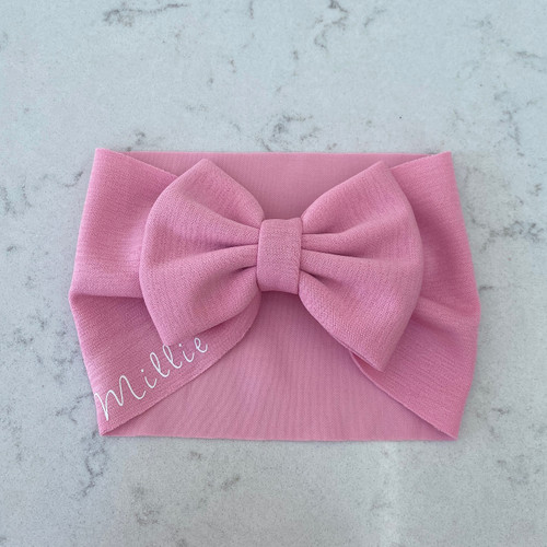 Pink Baby Personalised Hair Bow