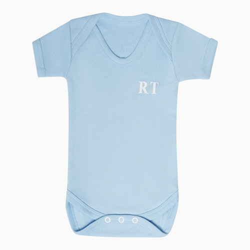 Baby Short Sleeve Blue Personalised Super Soft Bodysuit