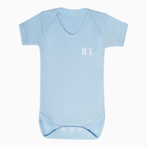 Baby Short Sleeve Blue Personalised Super Soft Bodysuit