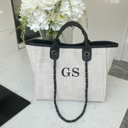 Cream/Black Personalised Canvas Bag