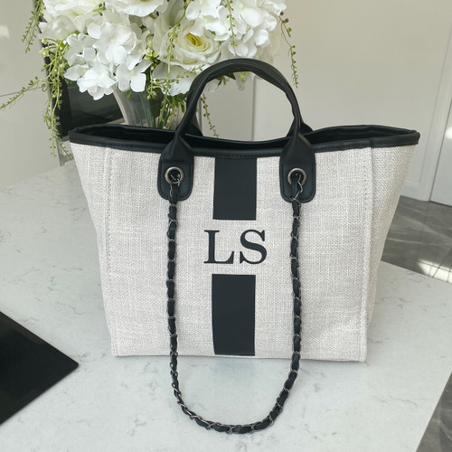 Cream/Black Personalised Canvas Bag with Stripe