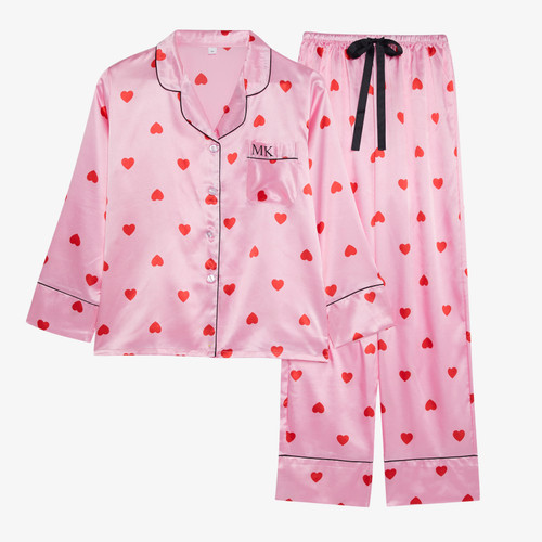 Pink/Red Heart Satin Personalised Long Pyjama Set