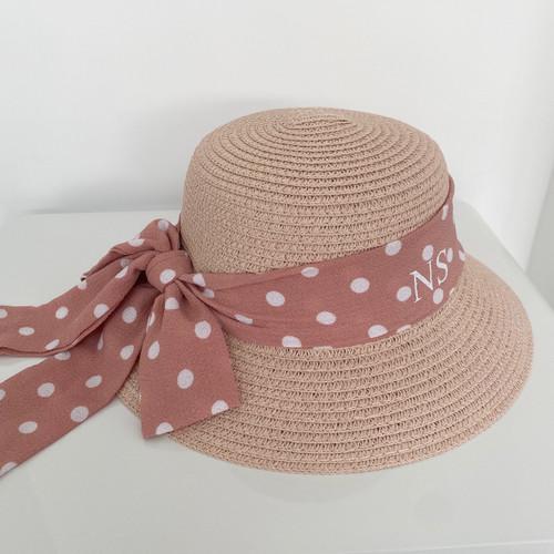 Kids Pink Polka Dot Personalised Beach Hat