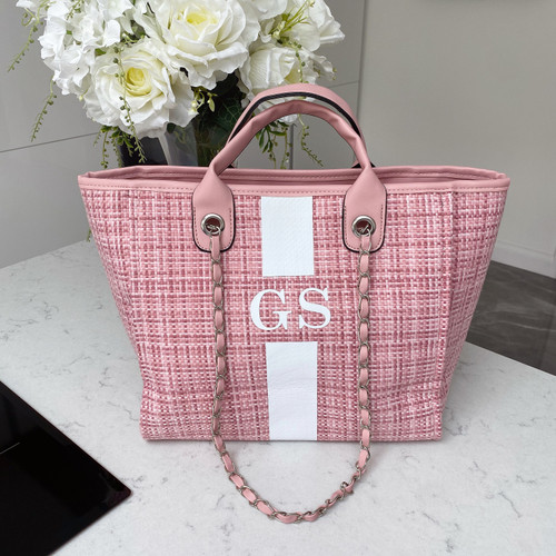 Pink Tweed Personalised Bag with Stripe