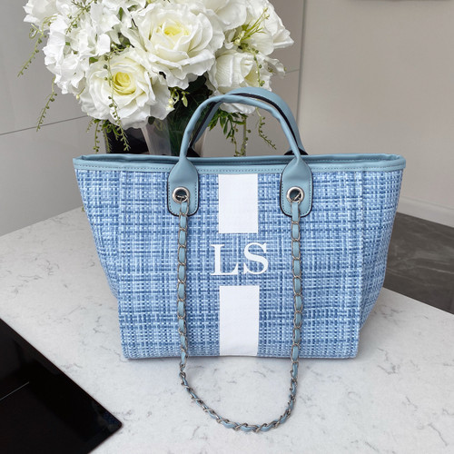Blue Tweed Personalised Bag with Stripe