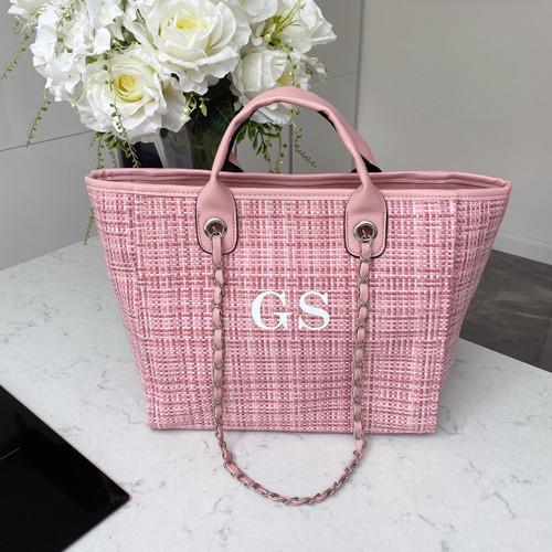 Pink Tweed Personalised Bag