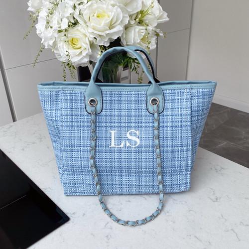 Blue Tweed Personalised Bag