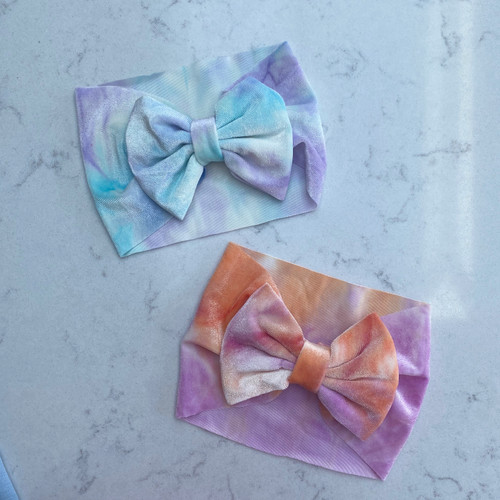 Plain Tie Dye Baby Hair Bow