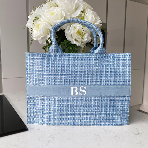 Blue Tweed Personalised Tote Bag