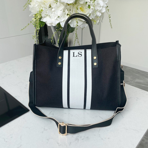 Black/White Canvas Stripe Bag
