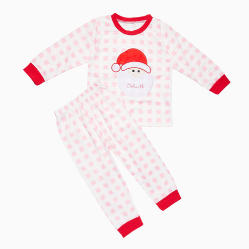 Pink Kids Personalised Santa Pyjamas