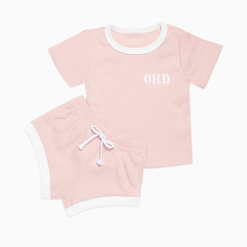 Pink/White Two Tone Personalised Baby Set