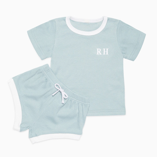 Mint/White Two Tone Personalised Baby Set