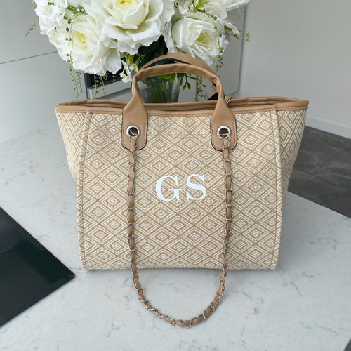 Beige Geometric Personalised Bag