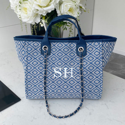 Blue Geometric Personalised Bag