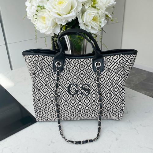 Black Geometric Personalised Bag