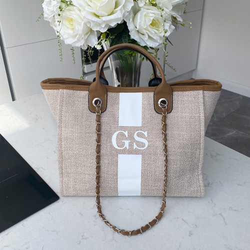 Brown Personalised Canvas Bag with Stripe