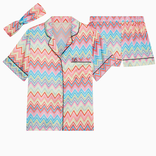 Zig Zag Personalised Satin Short Pyjama Set