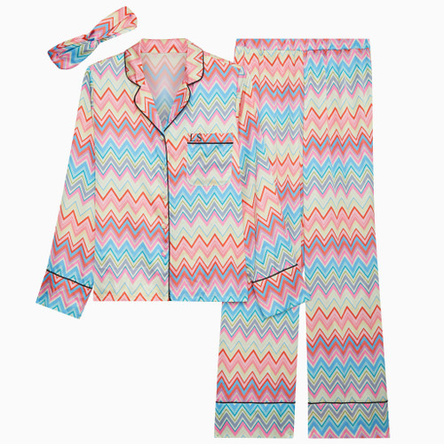 Zig Zag Personalised Satin Long Pyjama Set