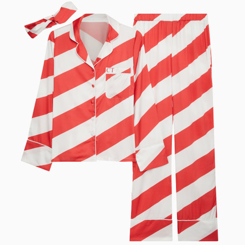 Red & White Stripe Satin Personalised Pyjama Set