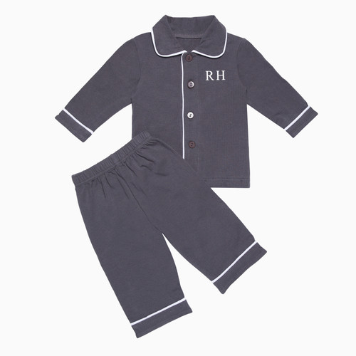 Boys - Kids Dark Grey Personalised Pyjamas
