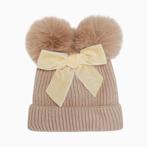 Beige Baby Personalised Faux Fur Pom Pom Hat