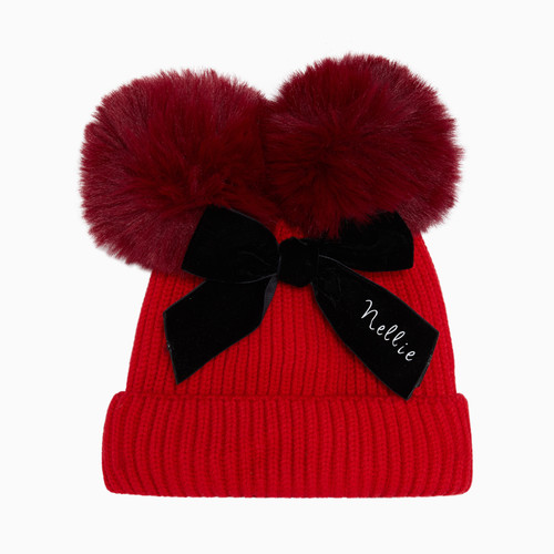 Red Baby Personalised Faux Fur Pom Pom Hat