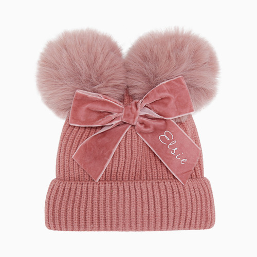 Pink Baby Personalised Faux Fur Pom Pom Hat