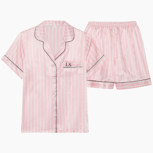 Pink Stripe Personalised Satin Short Pyjama Set