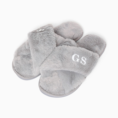 Faux Fur Grey Personalised Slippers