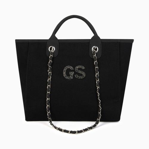 Black Canvas Personalised Bag (Pearl Initials)