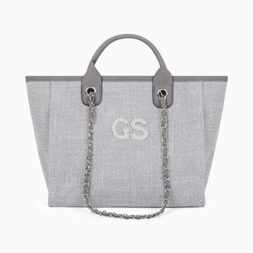 Grey Canvas Personalised Bag (Pearl Initials)