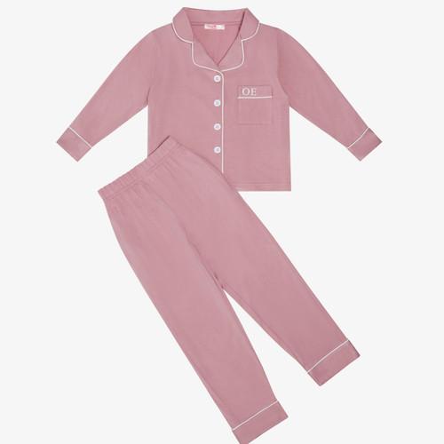 Dusty Pink Kids Unisex Super Soft Personalised Pyjama Set
